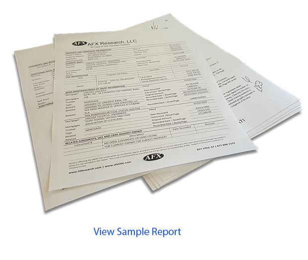 Foreclosure Title Search Report